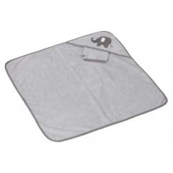 Sortie de bain et gant Billy gris clair