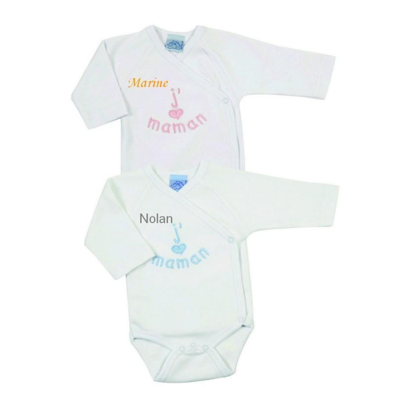 body croise brode j 39 aime maman 0 3 mois blanc bleu king bear bebe star. Black Bedroom Furniture Sets. Home Design Ideas