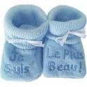 Chaussons tricot brodés bleu : JE SUIS LE PLUS BEAU