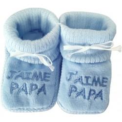 Chaussons tricot brodés bleu: J'AIME PAPA