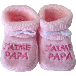 Chaussons tricot brodés rose : J'AIME PAPA