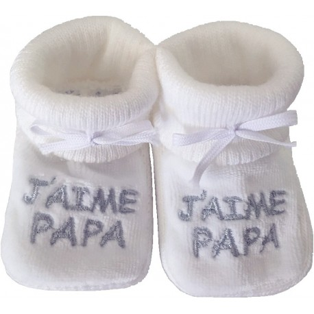 Chaussons tricot brodés blanc : J'AIME PAPA