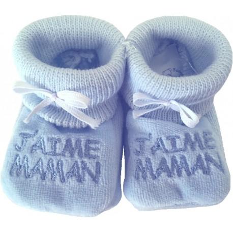 Chaussons tricot brodés bleu : J'AIME MAMAN