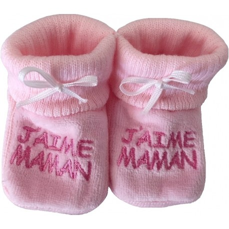Chaussons tricot brodés rose : J'AIME MAMAN