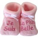 Chaussons tricot brodés rose : JE SUIS LA PLUS BELLE