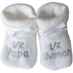 Chaussons tricot brodés blanc : PAPA-MAMAN