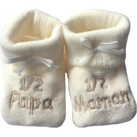 Chaussons tricot brodés écru : PAPA-MAMAN