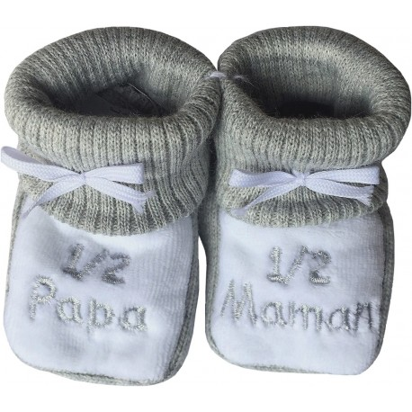 Chaussons tricot brodés gris : PAPA-MAMAN