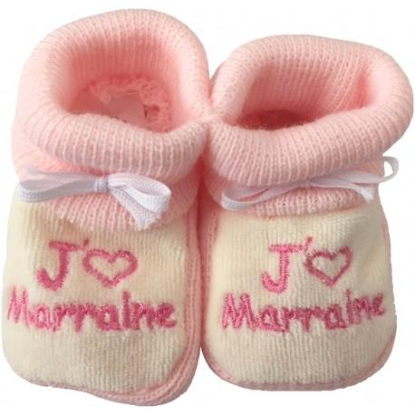 Chaussons tricot brodés blanc-rose : J'AIME MARRAINE