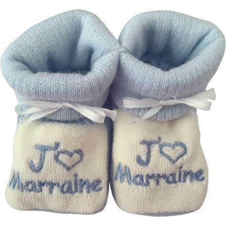 Chaussons tricot brodés blanc-bleu : J'AIME MARRAINE