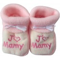 Chaussons tricot brodés blanc-rose : J'AIME MAMY