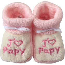 Chaussons tricot brodés blanc-rose : J'AIME PAPY