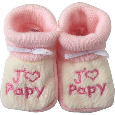 Chaussons tricot brodés blanc-rose : J'AIME PAPY