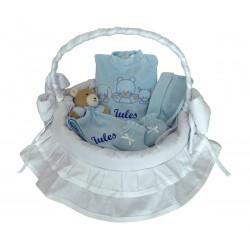 Panier osier blanc-bleu 4 pièces