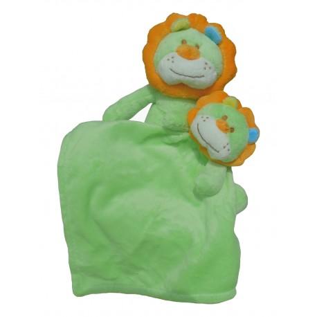 Set doudou et peluche lion vert