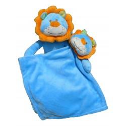 Set doudou et peluche lion bleu