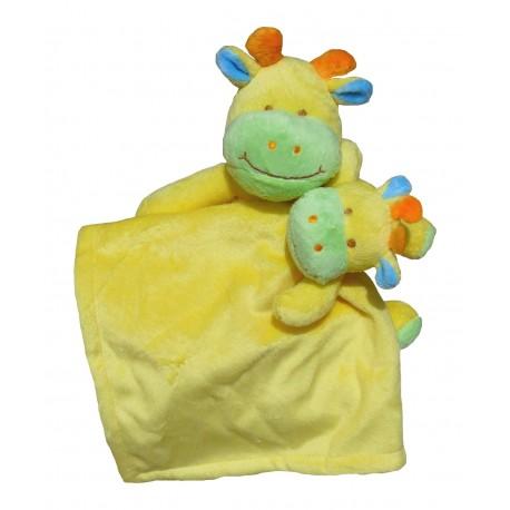 Set doudou et peluche vache jaune