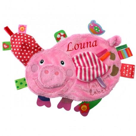 Doudou étiquettes Friends cochon