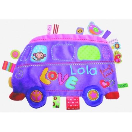 Doudou étiquettes Love Bus