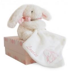 Pantin avec doudou rose - Lapin Bonbon,doudou et compagnie