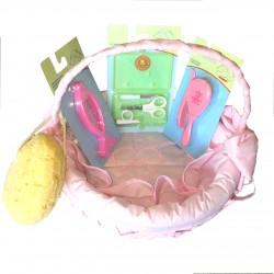 Panier toilette osier rose 5 pièces