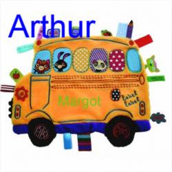 Personnalisez votre article :Doudou étiquettes School Bus