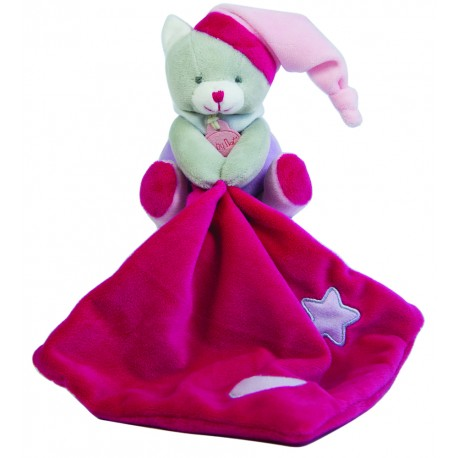 Doudou plat Les Luminescent chat rose violet étoile
