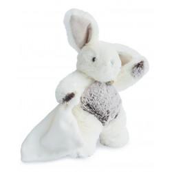Doudou les flocons peluche lapin blanc