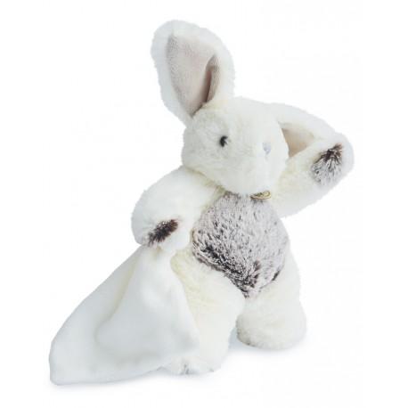 Dudou les flocons peluche lapin blanc