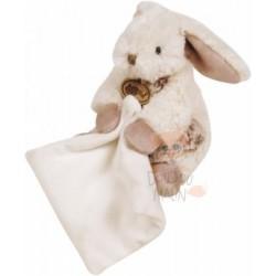 Doudou Les Flocons pantin mouchoir lapin blanc