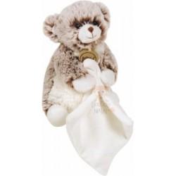 Doudou Les Flocons pantin mouchoir ours marron