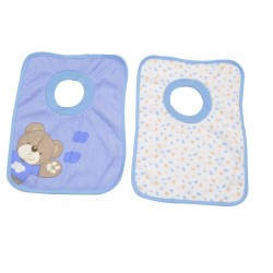 Lot de 2 bavoirs passe-tête Little Bear bleu, King Bear