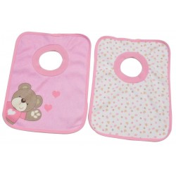 Lot de 2 bavoirs passe-tête Little Bear rose, King Bear