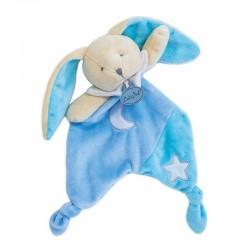 Doudou Plat Les Luminescents Étoile Lapin Bleu - BabyNat